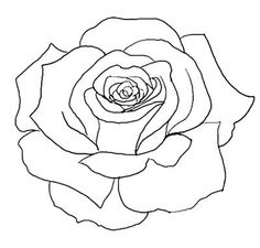 flower outline tattoos | Rose Outline Tattoo Stencil Line Art ...
