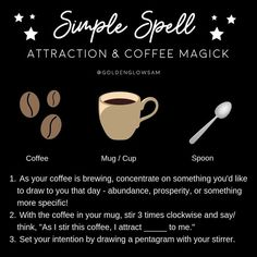 ⁣Happy Monday witches ☕🌟🖤 This is one of my favorite simple spells that I do every time I make coffee (aka every day 😅) ⠀ ⠀ ⠀ Coffee has… Hoodoo Spells, Magick Spells, Magick Book, Luck Spells, Healing Spells, Green Witchcraft, Wiccan Witch, Witchcraft For Beginners, Baby Witch