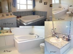 DIY bathroom makeover Corner Bathtub, Bathroom, Projects, Diy, Inspiration, Home, Ideas, Bath Room, Log Projects