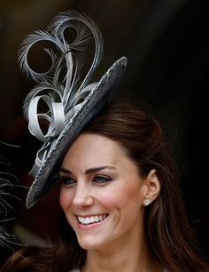 Catherine, Duchess of Cambridge, in Phillip Treacy- wish we could wear these without getting strange looks in the US ha