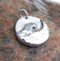 surf Rustic Jewelry, Metal Jewelry, Pendant Jewelry, Jewlery, Gifts For Surfers, Hand Cast, Summer Jewelry, Metal Clay, Ocean Waves