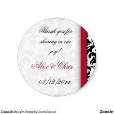 Damask Delight Favor Classic Round Sticker