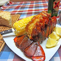 Apple Smoked Maine Lobster Tail Lobster as with any shellfish cooks very quickly and can very easily be overcooked and ruined. So for that reason I was hesitant to try one on the smoker. But I couldnt resist trying it Crab And Lobster, Lobster Tails, Fish And Seafood, Lobster Menu, Seafood Shop, Shellfish Recipes, Seafood Recipes, Seafood Platter, Good Food