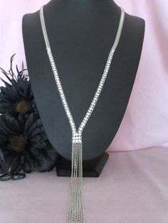 Stunning Long Silver Tone Snake Chain Crytal Diamante Tassel Necklace