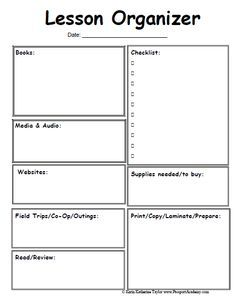 Lesson organizer prep sheet... omg where have you been all my life!
