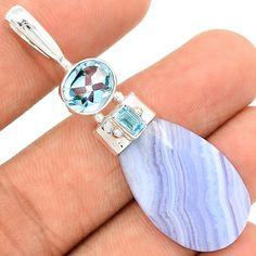 Blue Lace Agate 925 Sterling Silver Pendant Jewelry BLAP774 - JJDesignerJewelry