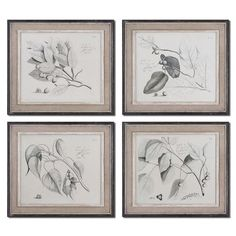 Found it at Wayfair - Sepia Leaf Study by Grace Feyock 4 Piece Framed Original Painting Set