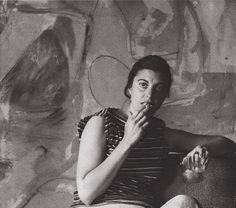 Helen Frankenthaler in front of Mountains and Sea (1952) in her West End Avenue apartment, New York, spring 1956
