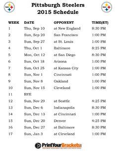 Printable Pittsburgh Steelers Schedule - 2015 Football Season