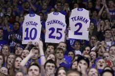 Two of my friends and me on ESPN during KU's senior night vs Texas :D