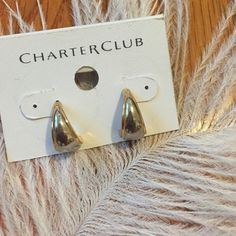 FLASH SALE-silver and gold earrings New worn, Charter Club brand from Macy's. Great staple earring. Charter Club Jewelry Earrings