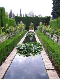 The Alhambra Gardens.  Granada, Andalucia, SPAIN.