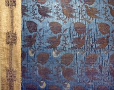 DigitaltMuseum - Detail of the blue cap membranes gold brocade and cover…