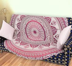 My shop: Round Hippie Wall Hanging Fringes Decor Ombre Pink Cover Indian Mandala Tapestry Roundie Dorm Decor Boho Beach Sheet Throw Bohemian Dorm, Bohemian Bedspread, Indian Mandala, Mandala Tapestry, Showcase Design, Cotton Bag, Table Covers, Tapestry Wall Hanging, Fringes