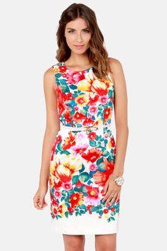 Cute Floral Print Dress - Midi Dress - Sleeveless Dress