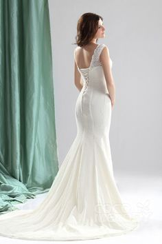 Hot Selling Trumpet-Mermaid V-Neck Court Train Lace Fit and Flare Wedding Dress CWLT13056#Cocomelody#weddingdresses#bridalgown#