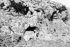 A cave used for shelter from German air attacks . Battle of Crete , May 1941 .
