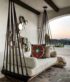 Home Interior Design, Interior Decorating, Decorating Ideas, Room Interior, Outdoor Beds, Outdoor Swings, Porch Swings, Pallet Swings, Outdoor Furniture