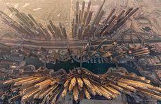 Vista aérea de Dubai, Emiratos Árabes Unidos.