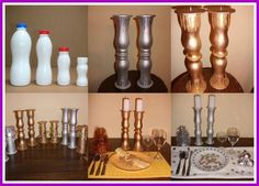 Recycle old milk bottles into candleholders. A little glue and some spraypaint...presto!