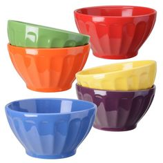 Fluted Bowls 6 Assorted Colors by Signature Housewares #SignatureHousewares