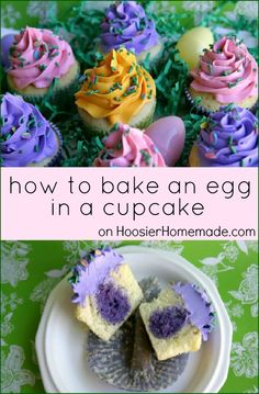 Transform your #DuncanHines Vanilla Cake Mix into Egg in a Cupcake Easter dessert. Instructions on HoosierHomemade.com