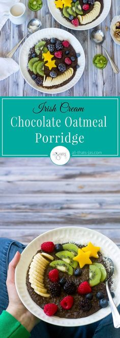 This super creamy and delicious Irish Cream chocolate oatmeal porridge is made with Flahavan's steel cut oats and mixed with cocoa, cinnamon, honey, and Irish cream then topped with fruit for a healthy breakfast or dessert. | allthatsjas.com | #ad #FlahavansUSA #OatGoals #SlowFood #porridge #wholesome #glutenfree #breakfast #StPatricksDay #Irish #oatmeal