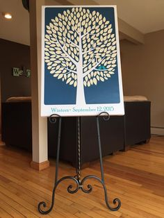Modwik Wedding Tree Canvas | Guest Book Alternative | Modern Wedding | Customer Photo | Wedding Colors - Navy & Teal | peachwik.com