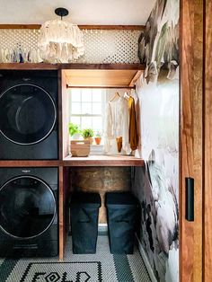 What an amazing small laundry room makeover! i love every inch in this laundry room. The DIY shelving, the wallpaper and the cool tile. Small Laundry Rooms, Laundry Room Organization, Laundry Room Design, Small Rooms, Laundry Room Ideas Stacked, Small Spaces, Laundry Dryer, Laundry Nook, Garage Laundry