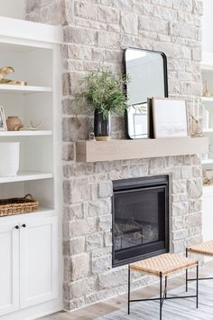 Fireplace Built Ins, Farmhouse Fireplace, Home Fireplace, Fireplace Remodel, Living Room With Fireplace, Fireplace Design, Home Living Room, Fireplace Gallery, Basement Fireplace