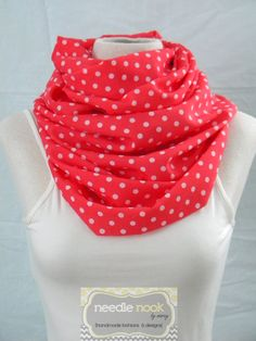 The Coral Polka Dot Infinity Scarf  by needlenookbymarcy on Etsy, #castteam