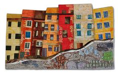 """ANONYMOUS SCRIPT - 17""""x 11""""  Portland graffitti collage printed on fabric, pieced, dischage dyed and machine quilted.    Hilde Morin"""