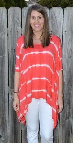 Coral Tie Dye Top from Lundy's Boutique
