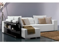 Corner fabric sofa POPPER | Sofa with integrated magazine rack - Bontempi Casa
