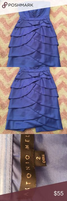 Size 2 Antonio Melani strapless dress like new Worn only once gorgeous blue strapless cocktail dress ANTONIO MELANI Dresses Strapless