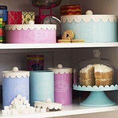 Doily Sugar/ Tea/ Coffee Scalloped Storage Tins Set of 3