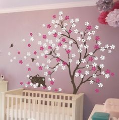 Home & Garden Honey Leafy Trees With Fawn And Birds Wall Decal Sticker For Nursery And Home Office