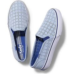 Keds DOUBLE DECKER PERF ($55) ❤ liked on Polyvore featuring shoes, sneakers, blue, keds shoes, leopard print slip-on shoes, summer slip on shoes, perforated sneakers and blue sneakers