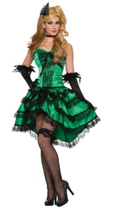 emerald saloon girl western old wild west bar maid can can dancer womens costume - Can Can Dancer Halloween Costume