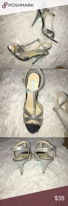 Betsy Johnson silver glitter heels Betsy Johnson silver glitter heels. Worn once. Excellent condition. Bottoms of heels little discolored as shown in last picture Betsey Johnson Shoes Heels