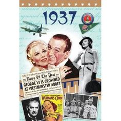 A 1937 DVD documentary film (60 minutes) comes attached to a two-fold 1937 greeting card (blank inside) to create a fabulous gift for anyone born (or married) in this year. http://www.amazon.co.uk/20th-Century-History-What-Happened/dp/B007TU579S/ref=sr_1_1?s=dvd=UTF8=1364388251=1-1  £12.50