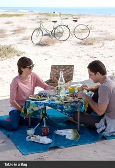 The picnic table, food, bicycles, ocean... this photo hits on so many things I love.