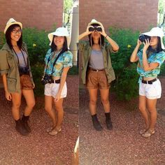 Pin for Later: 11 Travel Costumes For Halloween Adventure-Seekers Tourists (Halloween College Duo) Tacky Tourist Outfits, Tacky Tourist Costume, Creative College Halloween Costumes, Two Person Halloween Costumes, Halloween College, Safari Outfits, Themed Outfits, Safari Costume, Jungle Themed Costumes