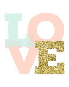 Buy 1 Get 1 Free LOVE Print Digital Peach Mint by EllenPrintable