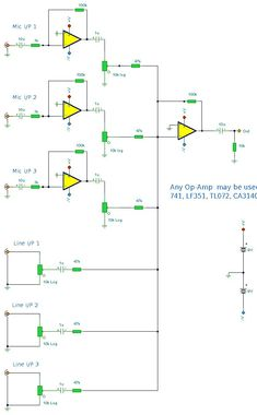 The mixer circuit below has 3 line inputs and 3 mic inputs. The mic inputs are suitable for low impedance dynamic microphones. Electrical Projects, Electrical Engineering, Diy Electronics, Electronics Projects, Fm Band, Diy Headphones, Audiophile Headphones, Childrens Ebooks, Diy Amplifier