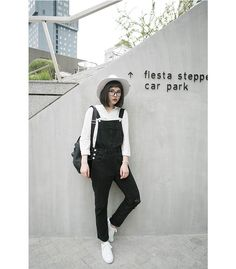 0d9720c9e4a  fashion  outfit  black  denim  dungaree  overalls  asian  korean  fashion   casual  monochrome