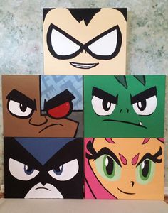 "Teen Titans Go! Canvas Painting Set of 5 (16x20"" each) by ShadowCastArt on Etsy"