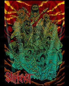 Slipknot Poster by cesare cartoon Jay Weinberg, Mick Thomson, Craig Jones, Chris Fehn, Sid Wilson, Paul Gray, Corey Taylor, Concert Shirts, Slipknot