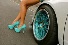 Teal heels and teal rims to match!
