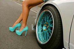 Teal heels and teal rims to match! Dream Cars, Clothes For Big Men, Teal Heels, Rims For Cars, Car Rims, Pt Cruiser, Car Tuning, Love Car, Car Wheels